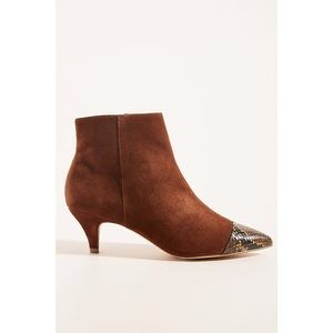 Anthropologie Brown Kitten-Heeled Ankle Boots
